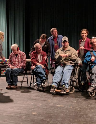A group of performers gather for talent night
